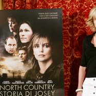 South African actress Charlize Theron poses during a photocall of the film 'North Country ' directed by Niki Caro,