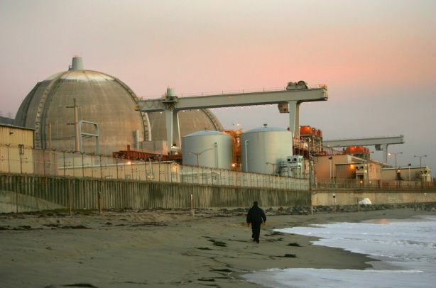 Evening sets on the San Onofre nuclear power plant in northern San Diego County, south of San Clemente, California.