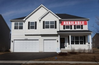 A spec home is offered for sale in a housing development in Wauconda, Illinois.