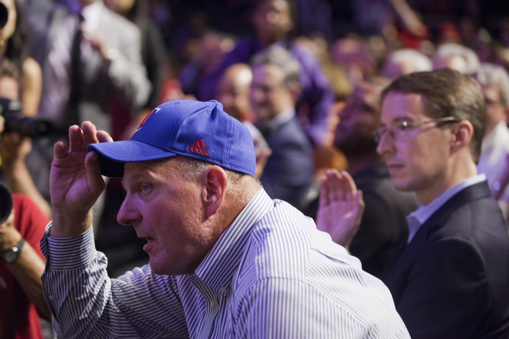 Clippers owner Steve Ballmer is introduced to the crowed during a fan appreciation event at the Staples Center.