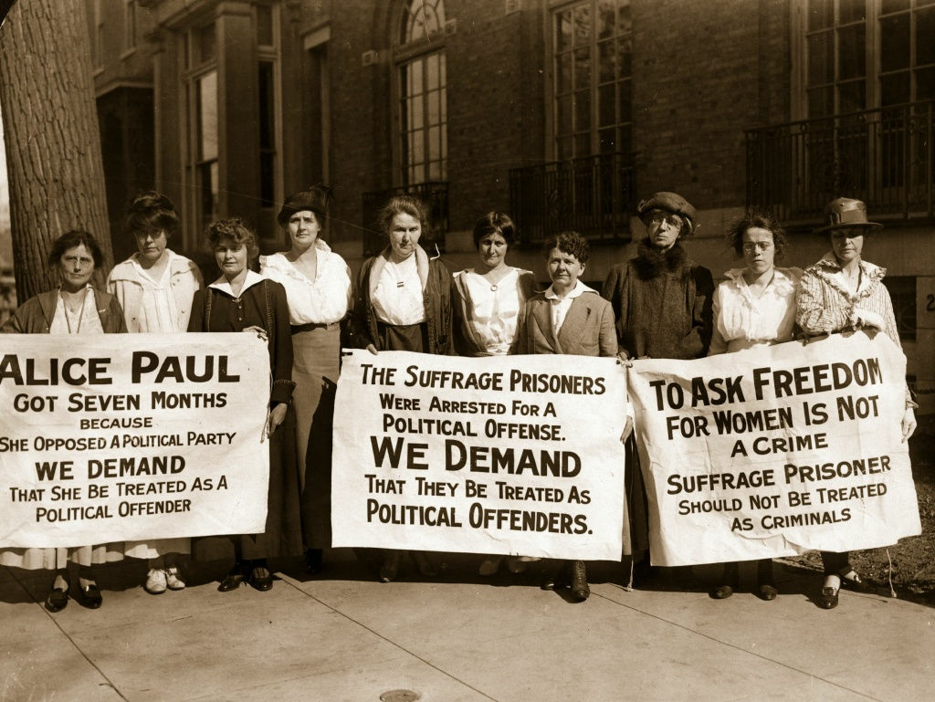 Suffragettes picket for the release of their colleagues after ten of their comrades are released from the workhouse after serving a sixty day sentence for obstructing traffic.