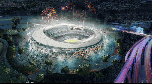 An artist's rendering of a new $1.33 billion stadium for the San Diego Chargers.