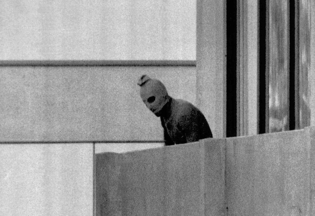 Sept. 5, 1972 file photo shows a member of the Palestinian terrorist group who seized members of the Israeli Olympic team. (AP)
