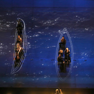 "Onstage rehearsal for ""Moby Dick"" at the Dorothy Chandler Pavilion."
