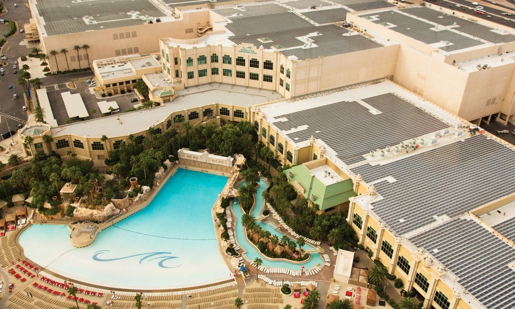 The Mandalay Bay convention center has solar panels installed on the roof.