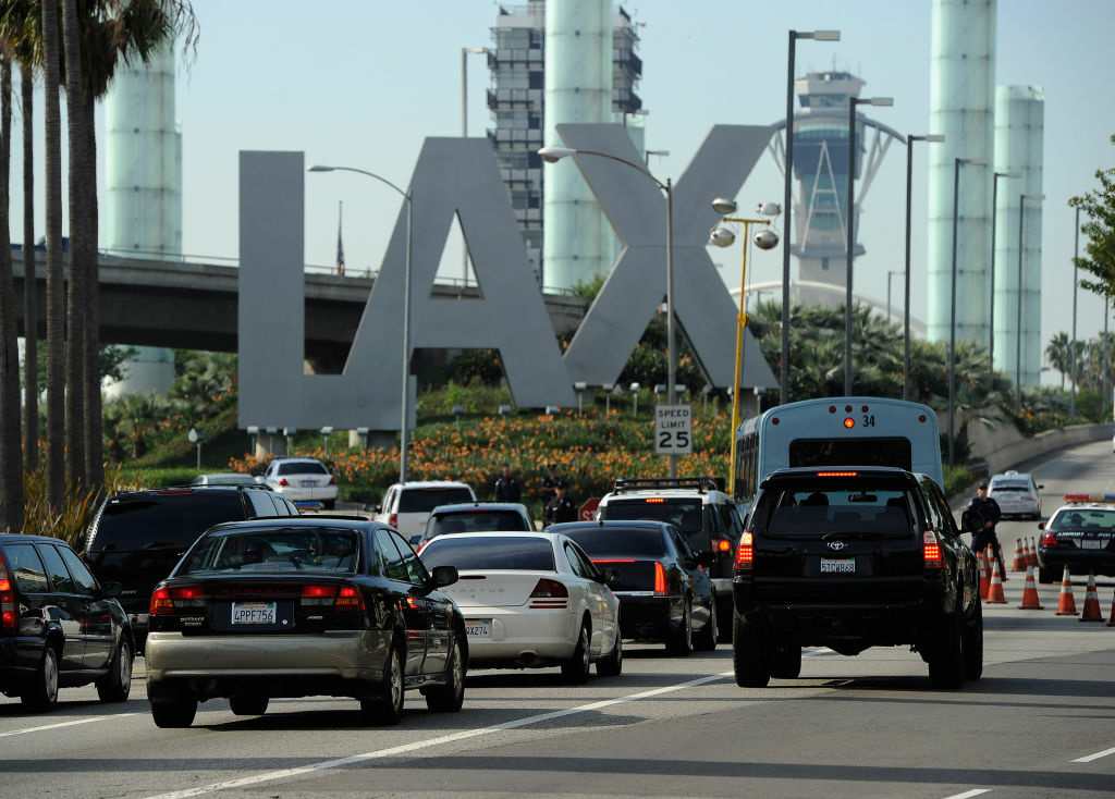 Travelers are stopped at a security check point at Los Angeles International Airport on November 23, 2011 in Los Angeles, California. Orbitz named LAX as the nation's busiest airport for 2011 Thanksgiving travel.