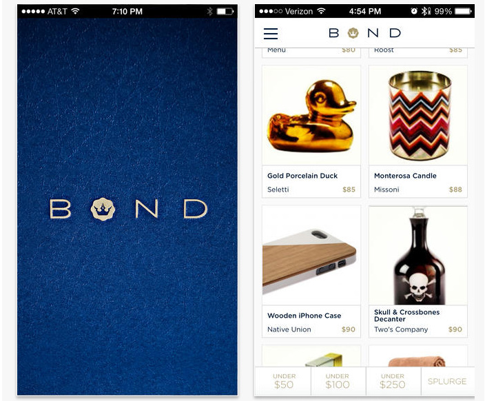 Screenshot of the Bond Gifts app.