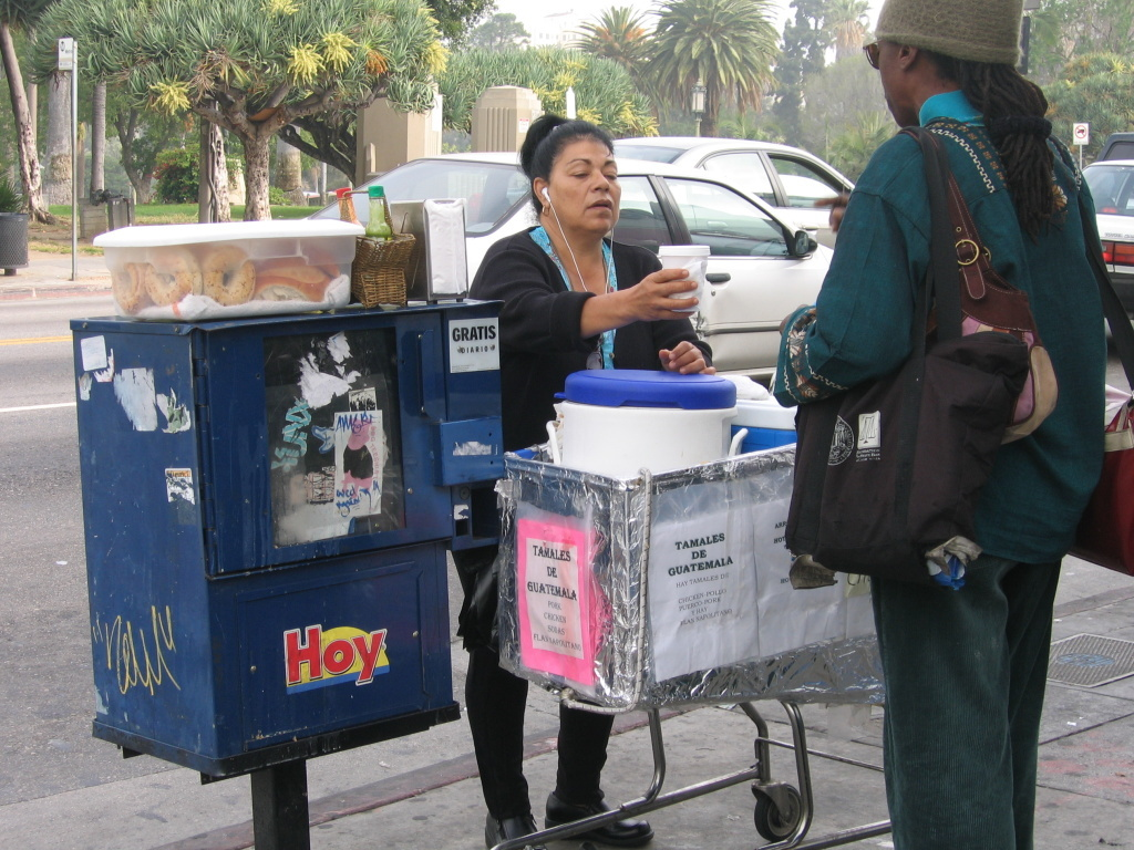 FILE: A new California state bill aims to decriminalize street vending, not unlike what the city of Los Angeles did last year. It would also push local governments to create a system for licensing street vendors, something Los Angeles has been weighing for years.