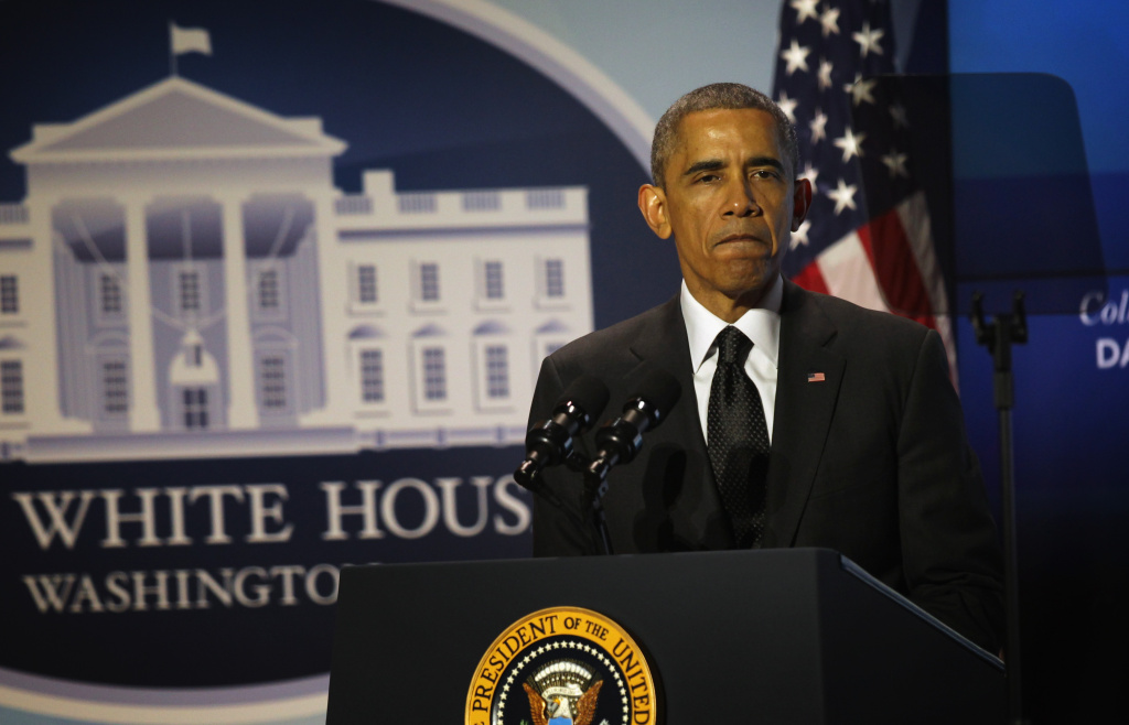 U.S. President Barack Obama speaks during the Summit on College Opportunity at the Ronald Reagan Building December 4, 2014 in Washington, DC. President Obama commented on the death of Eric Garner as he hosted the summit on