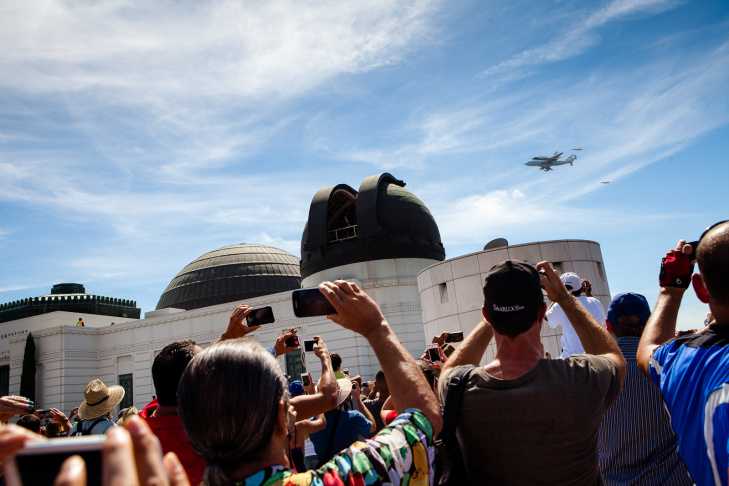 Space Shuttle Endeavour Flies Over Griffith Park