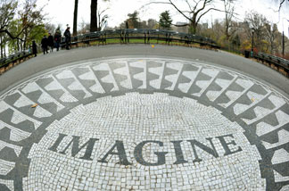 The 'Imagine' marble mosaic in Strawberry Fieldsis seen on December 6, 2010 in New York's Central Park.