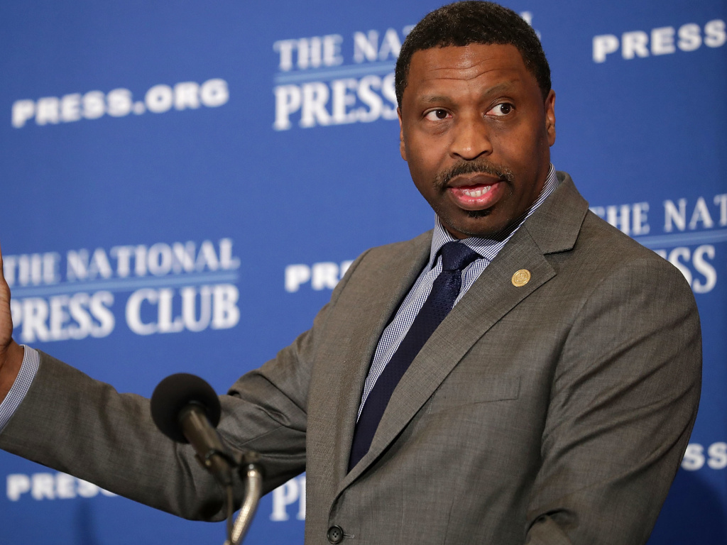 NAACP President Derrick Johnson addresses the Newsmaker Luncheon at the National Press Club August 29, 2017 in Washington, DC.