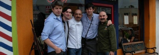 KPCC's Kevin Ferguson, Eat-LA contributor Miles Clements, and La Casita Mexicana owners&chefs Jaime del Campo and Ramiro Arvizu flanking Off-Ramp host John Rabe.