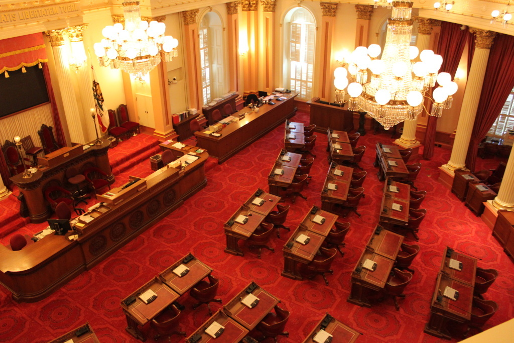 File: The state Senate chamber at the California State Capitol.