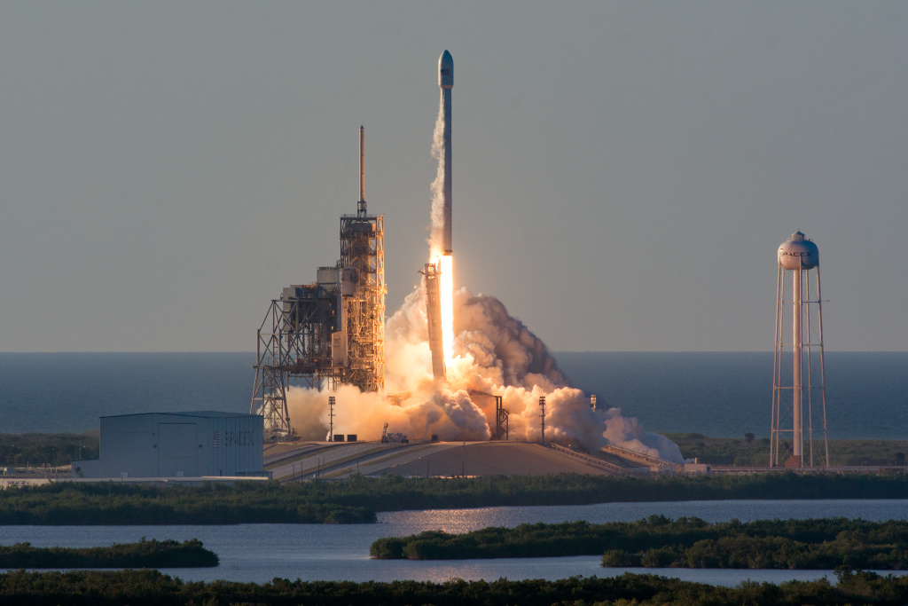 A SpaceX Falcon 9 rocket carrying a communications satellite launches on May 15, 2017 from Kennedy Space Center in Florida.