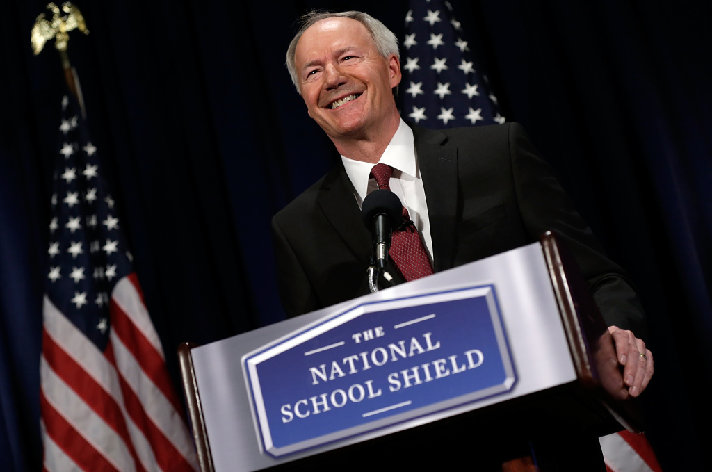 Former U.S. Rep. Asa Hutchinson announces the recommendations of the NRA backed National School Shield Program regarding school security during a press conference April 2, 2013 at the National Press Club in Washington, D.C. Among other findings, the report recommended training and placing armed personnel in public schools following the Sandy Hook Elementary School shooting.