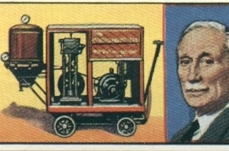 Illustration of Hubert Cecil Booth and his vacuum cleaner