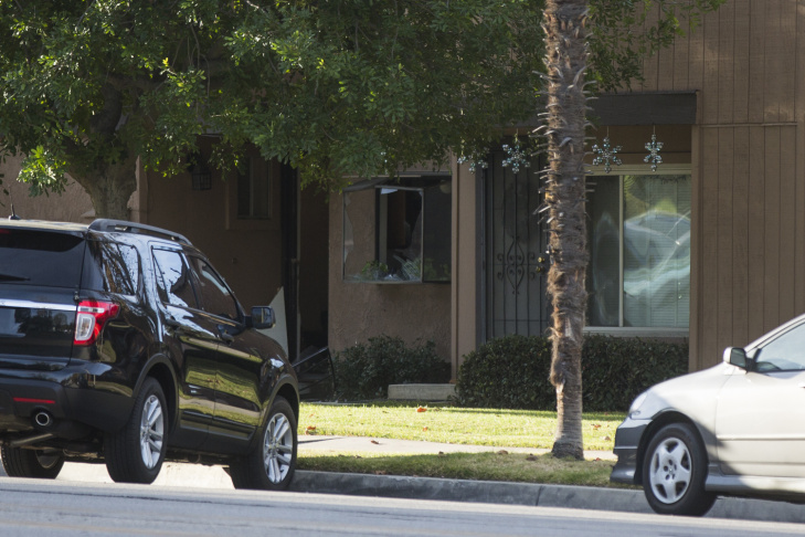 The black SUV driven by the two San Bernardino shooting suspects shot and killed by police.