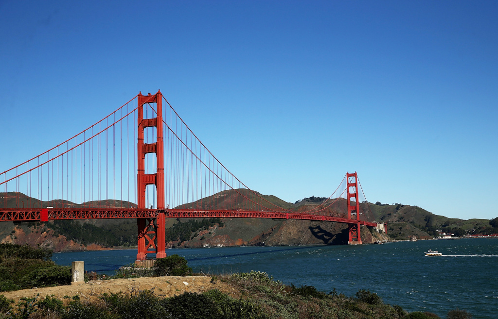 The Golden Gate Bridge stands over San Francisco Bay in 2014.