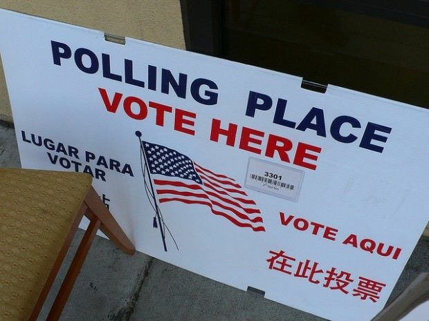 At a polling place in San Francisco, November 2008
