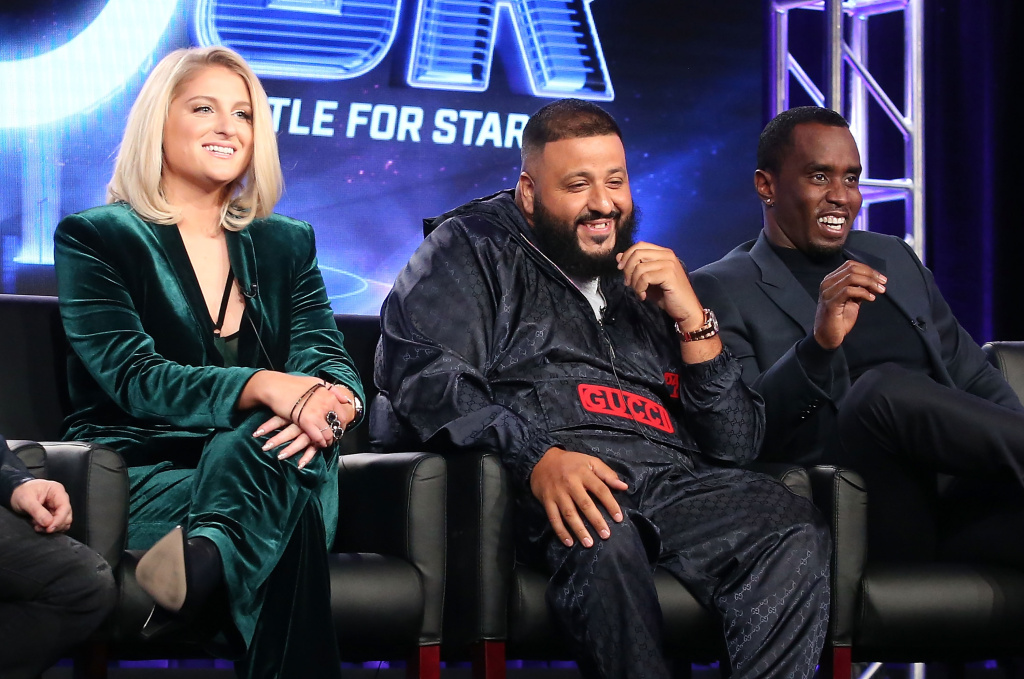 Panelists Meghan Trainor, DJ Khaled and Sean 'Diddy' Combs of the television show The Four speak onstage during the FOX portion of the 2018 Winter Television Critics Association Press Tour at The Langham Huntington, Pasadena on January 4, 2018 in Pasadena, California.