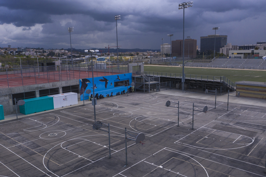 Schools grounds stand empty at the Miguel Contreras Learning Complex due to pandemic closures in Los Angeles, California.