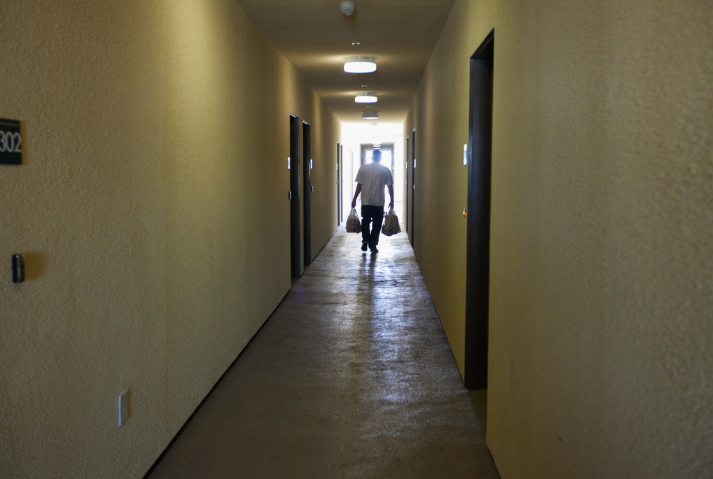 The hallways at the El Monte Veterans Village housing complex, which has 40 units and is about a year old. Residents are veterans only and come from a history of chronic homelessness.