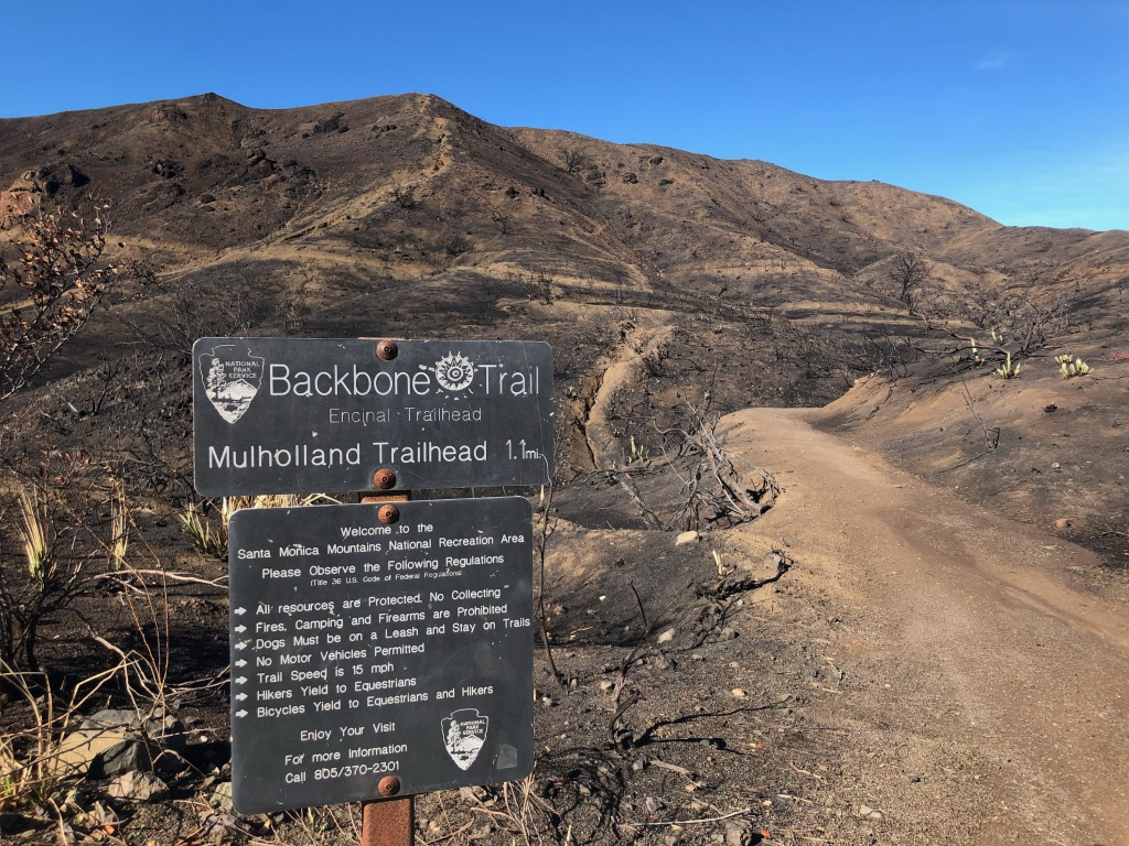 The Backbone Trail is still closed, featuring burned out culverts, eroded trail paths and boulders threatening to fall.