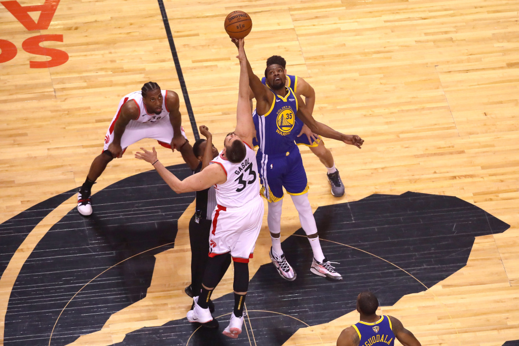 Kevin Durant #35 of the Golden State Warriors during Game Five of the 2019 NBA Finals at Scotiabank Arena.