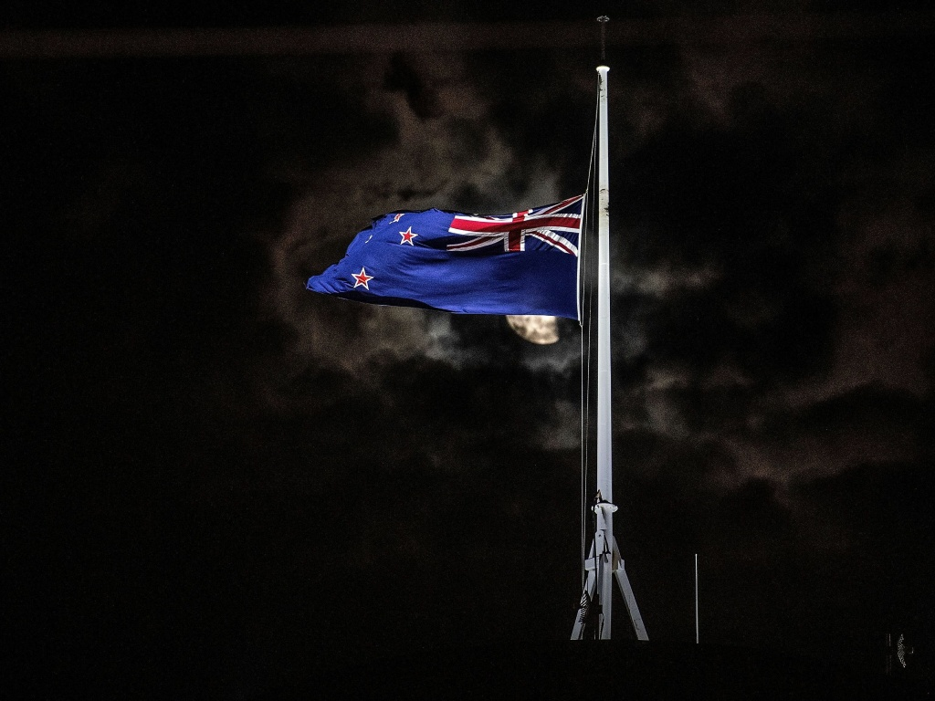 The New Zealand national flag is flown at half-staff on a Parliament building in Wellington on Friday, after the shootings in Christchurch.