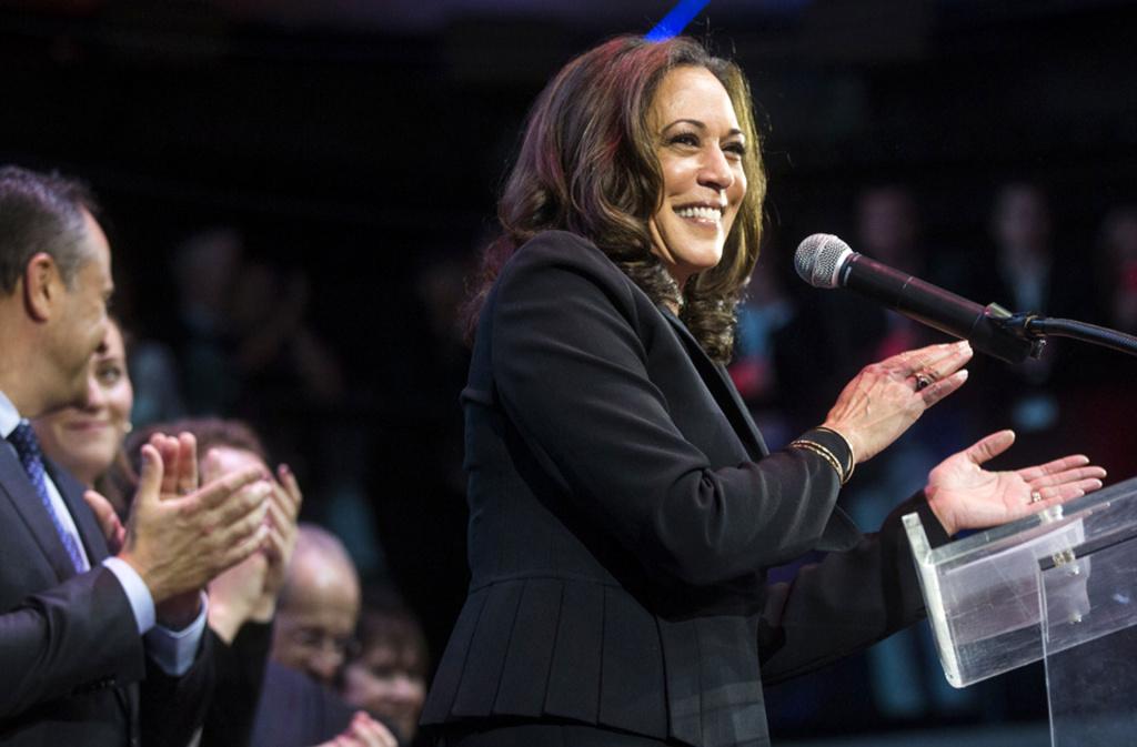 Left: Newly elected California Sen. Kamala Harris celebrates her victory on election night.