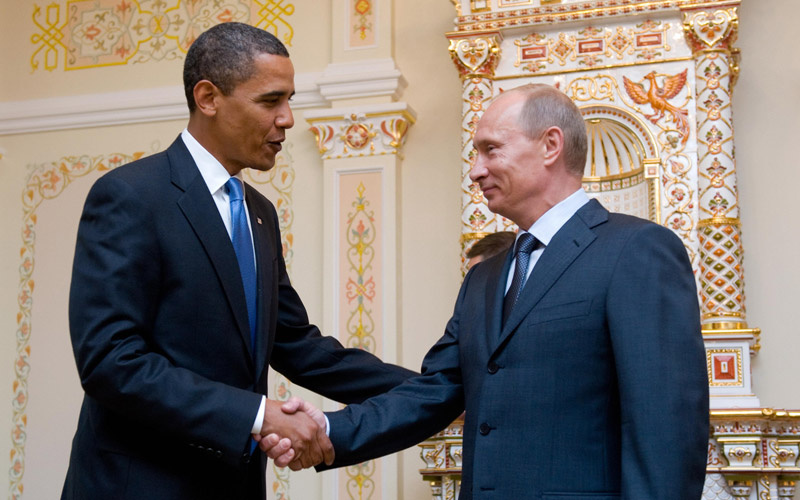 US President Barack Obama and Russian Prime Minister Vladimir Putin meet near Moscow. Putin is running again for president in elections to be held Sunday.