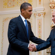 July 7, 2009: US President Barack Obama and then Russian Prime Minister Vladimir Putin shake hands. What will US-Russia relations be like going forward?