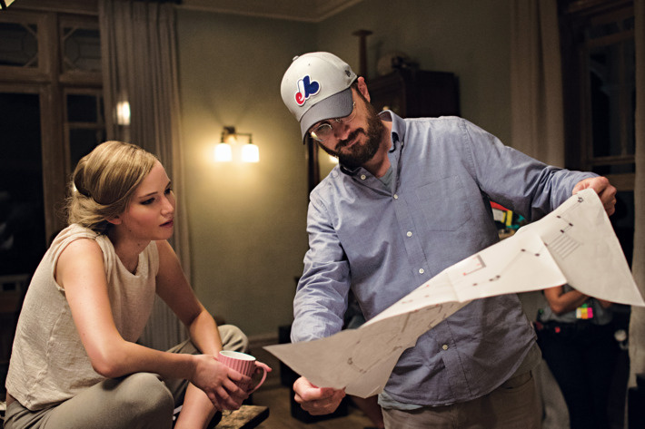 Jennifer Lawrence and director Darren Aronofksy on the set of 'mother!'