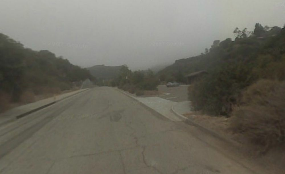 Screenshot of the 500 block of Los Liones Drive, where two hikers found a human skull Saturday night.