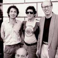 "Harry Shearer, Scott Kelman, Paul Krassner, and Peter Bergman, photographed for ""Peter, Paul, and Harry"" at MOCA."