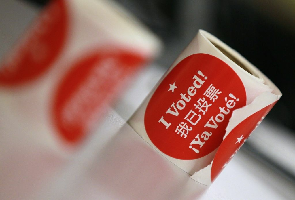 Voter stickers are seen on a desk at a polling station inside San Francisco City Hall on November 8, 2011 in San Francisco, California.