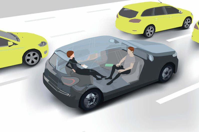 Illustration of a driverless car.