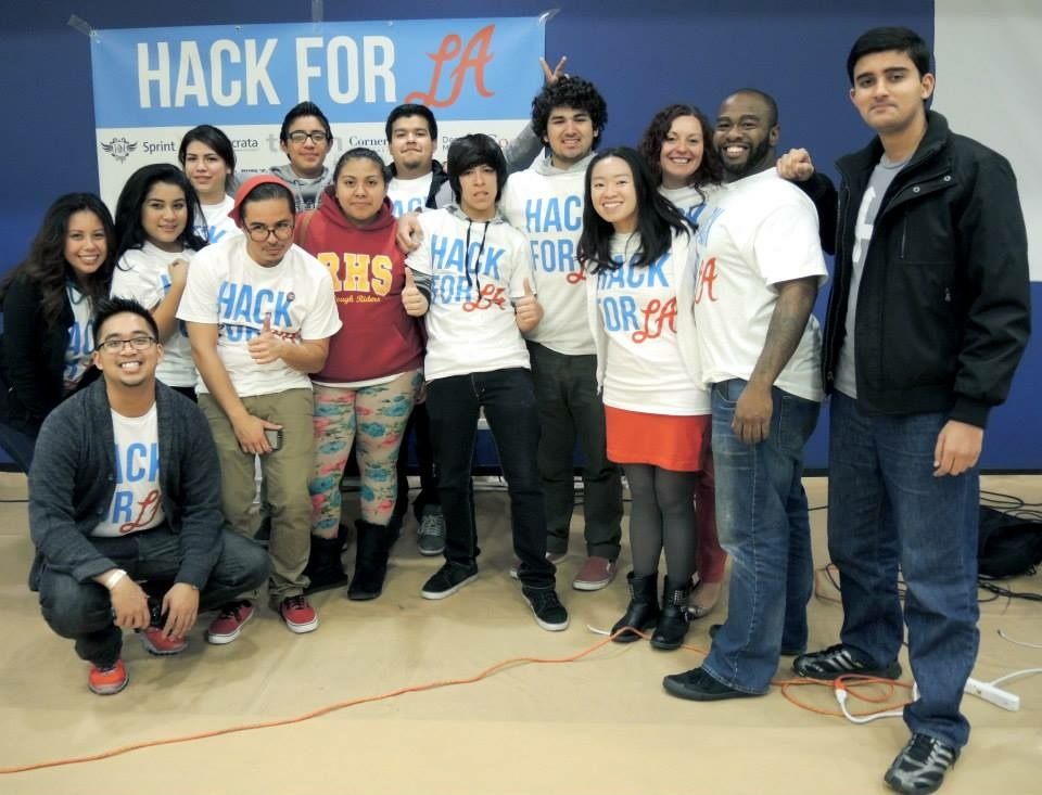 Student hackers from Roosevelt High School in Boyle Heights participate in the Hack For LA competition.