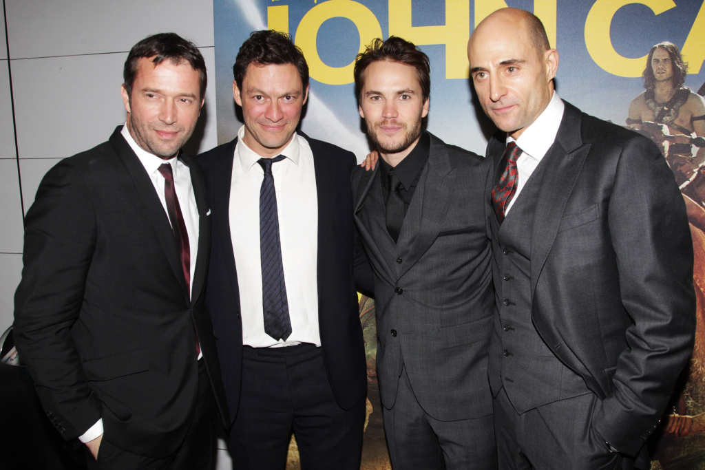 L-R: James Purefoy, Domonic West, Taylor Kitsch and Mark Strong attend the UK premiere of John Carter.