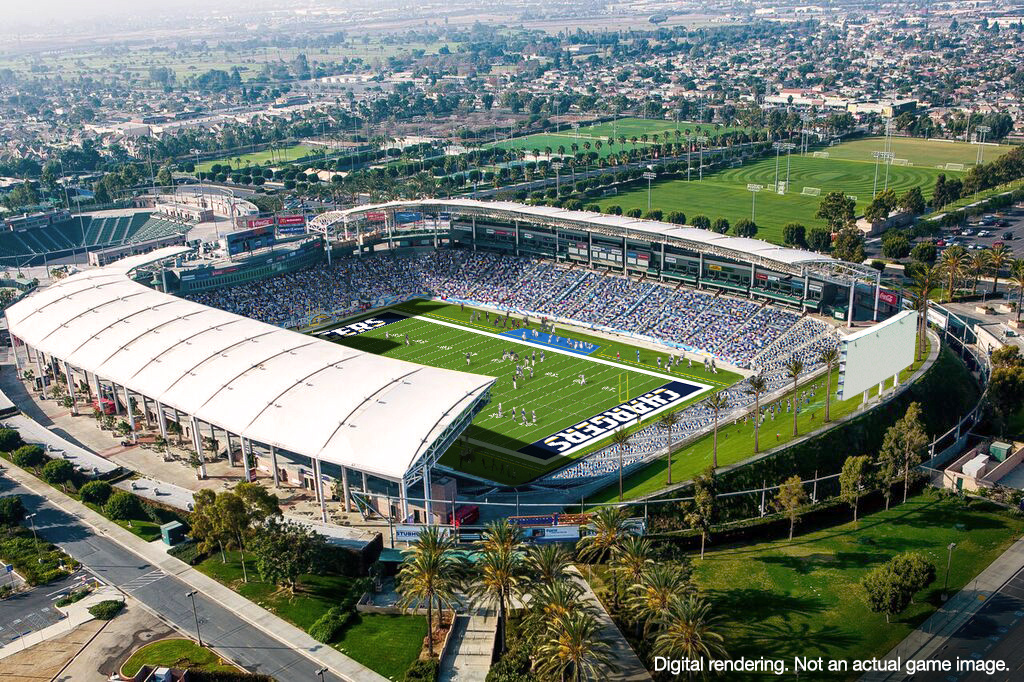Mocked images of L.A. Chargers at StubHub Center.