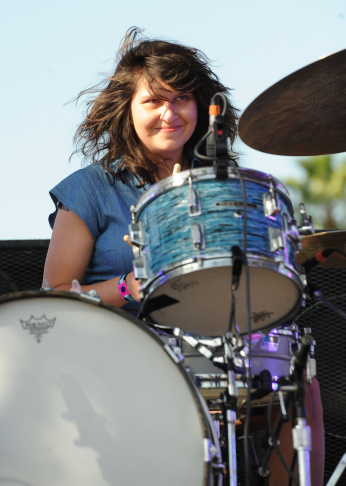Drummer Stella Mozgawa of Warpaint performs during day 1 of the FYF Fest 2012 at Los Angeles State Historic Park on September 1, 2012 in Los Angeles.