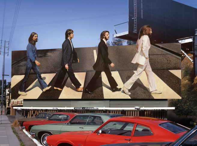 Billboard for Beatles Abbey Road record circa 1969 on the Sunset Strip