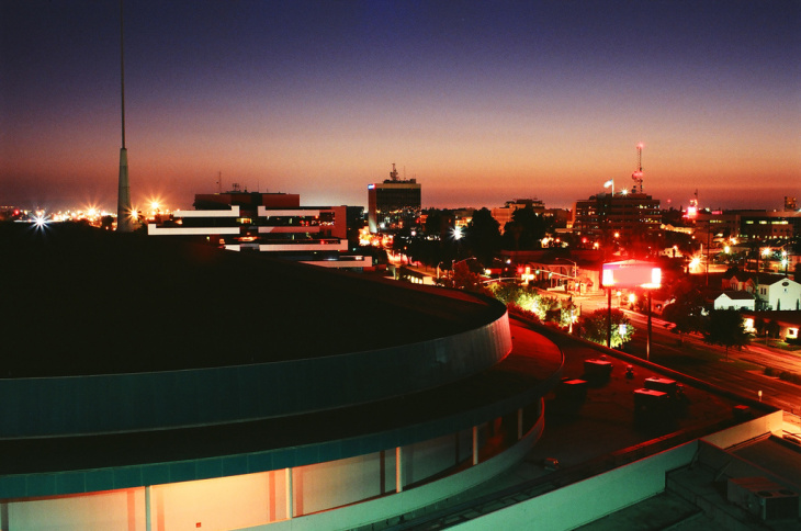 #1. Bakersfield, California. A view of the Bakersfield skyline at night. Bakersfield had the worst air pollution, according to the American Lung Association.