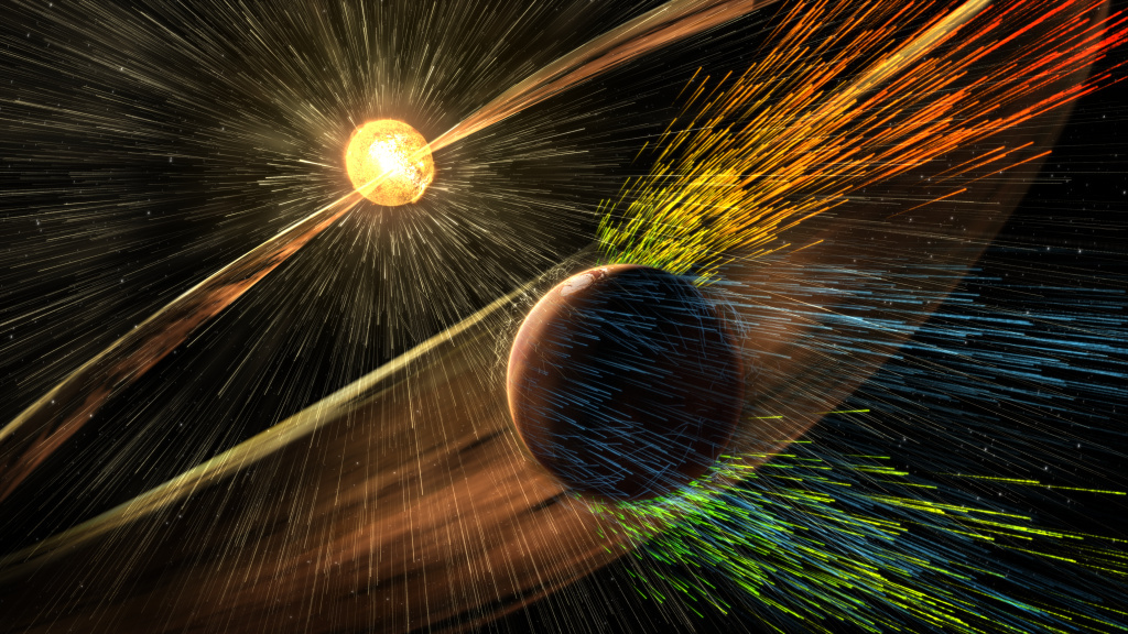 From NASA: Artist's rendering of a solar storm hitting Mars and stripping ions from the planet's upper atmosphere.