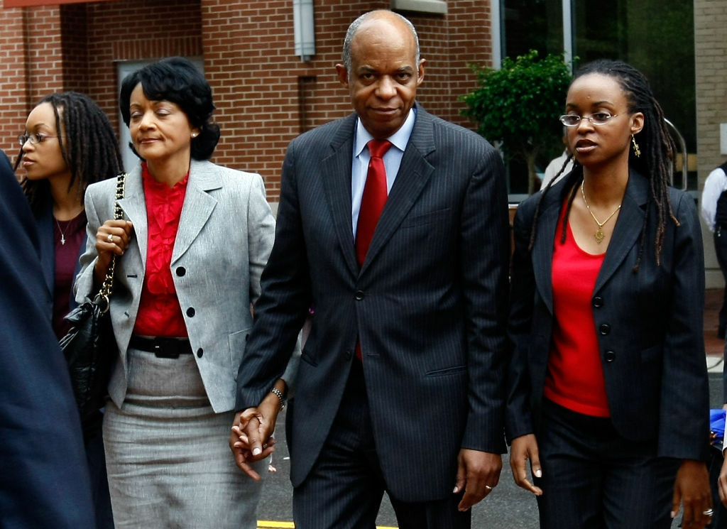 Former Democratic Congressman from Louisiana, William Jefferson (C) arrives at U.S. District Court with his wife Andrea Jefferson (L) on June 9, 2009 in Alexandria, Virginia.