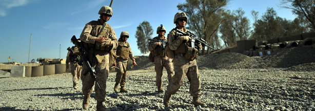 US Marines of the 2nd Battalion, 1st Marines Regiment leave FOB Delhi for a patrol in Garmser, Helmand Province, Afghanistan on March 14, 2011.
