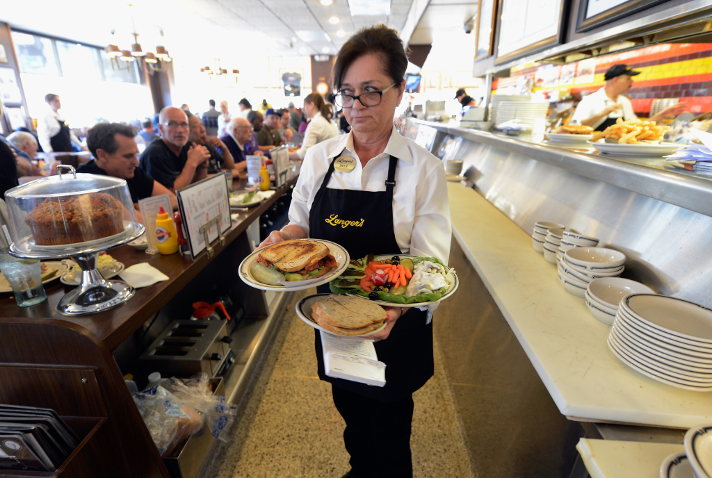 LOS ANGELES, CA - FEBRUARY 26: Waitress Sheila Abramson at Langer's Delicatessen serves customers on February 26, 2013 in Los Angeles, California. According to a report, America's Jewish delis are struggling to stay afloat. There were several thousand Jewish delis open in New York City during the first half of the 20th century, now there are only a few dozen.  (Photo by Kevork Djansezian/Getty Images)