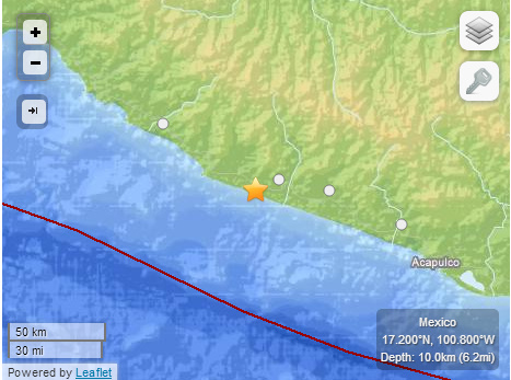 A screenshot of the quake from USGS.