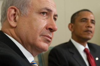 US President Barack Obama and Israel's Prime Minister Benjamin Netanyahu listen to a question during meetings in the Oval Office of the White House in Washington on July 6, 2010.